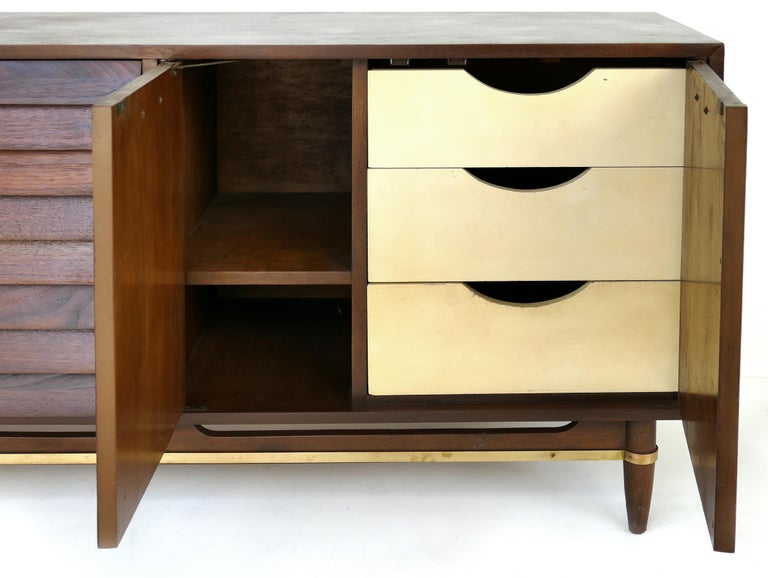 American of Martinsville Walnut and Brass Credenza Cabinet with Louvered Drawers For Sale 2