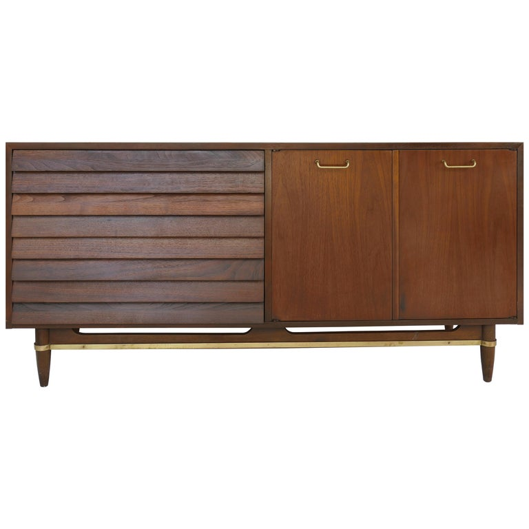 American of Martinsville Walnut and Brass Credenza Cabinet with Louvered Drawers For Sale