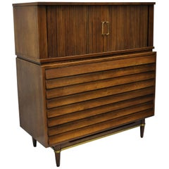 American of Martinsville Walnut Louvered Drawer Dresser Mid-Century Modern Chest