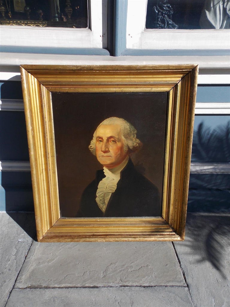 American Empire American Portrait of George Washington Oil on Board in Original Gilt Frame 1880 For Sale