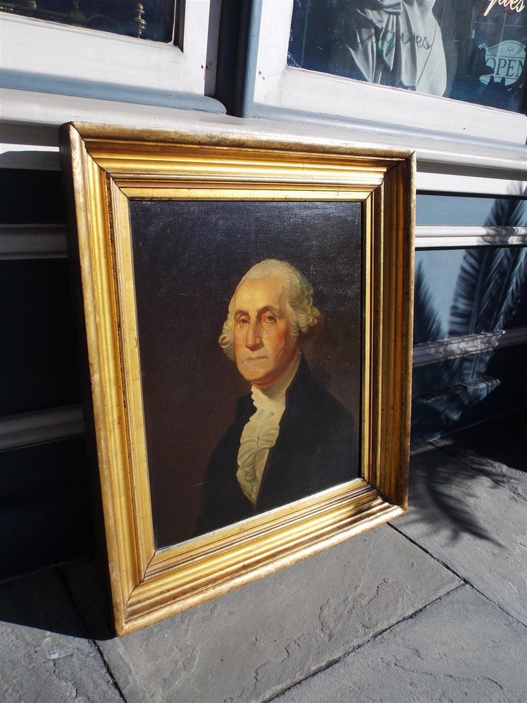Hand-Carved American Portrait of George Washington Oil on Board in Original Gilt Frame 1880 For Sale