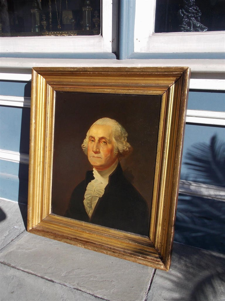 American Portrait of George Washington Oil on Board in Original Gilt Frame 1880 In Excellent Condition For Sale In Charleston, SC