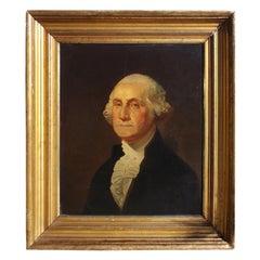 American Portrait of George Washington Oil on Board in Original Gilt Frame. 1880
