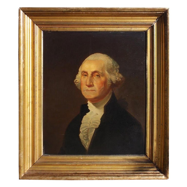American Portrait of George Washington Oil on Board in Original Gilt Frame 1880 For Sale