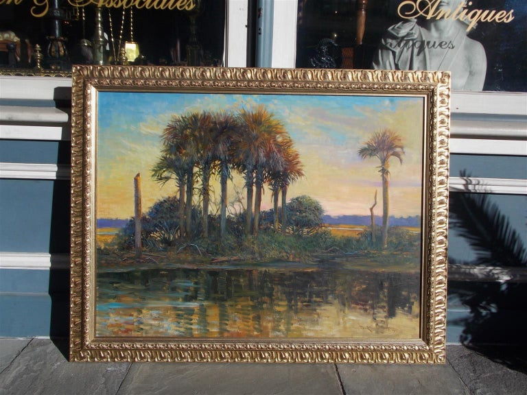 American oil on canvas Low Country Island in the original gilt frame, Charleston SC. Signed & dated by artist on lower right corner and re verso.