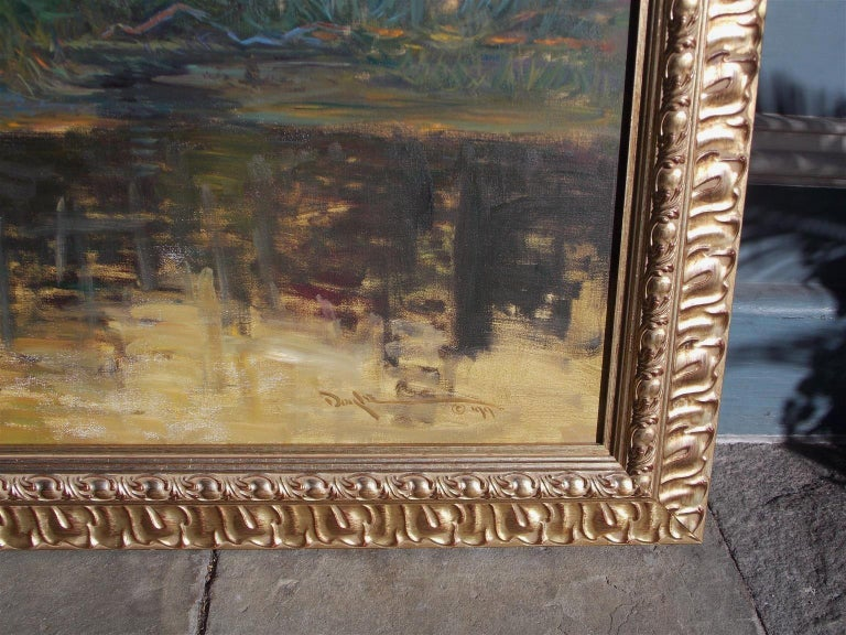 Modern American Oil on Canvas Low Country Island in Original Gilt Frame, John C. Doyle For Sale