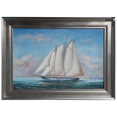 American Oil on Canvas of Two Masted Schooner Yacht Under Full Sail 20th Century