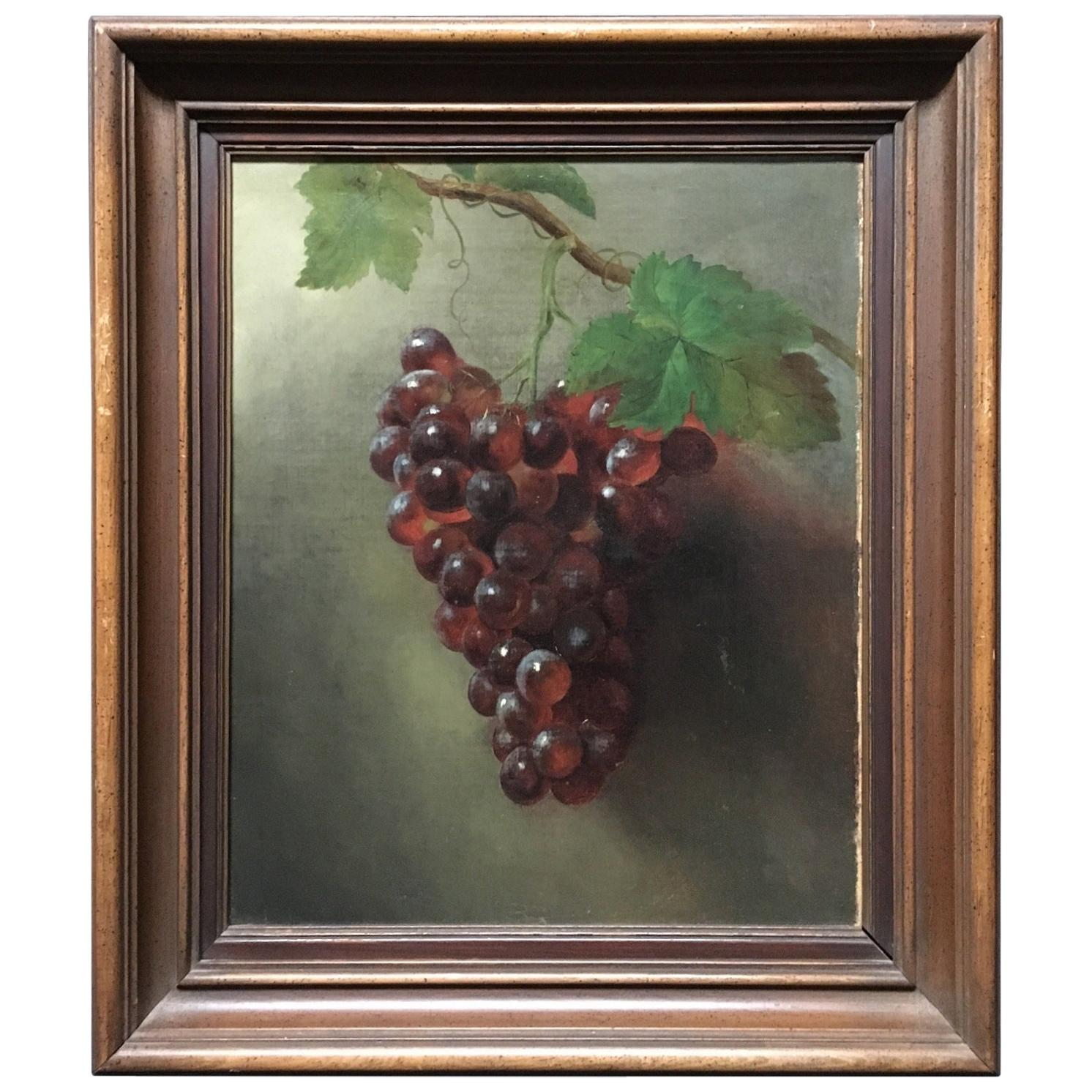 """American Oil on Canvas Painting, """"Grapes"""""""
