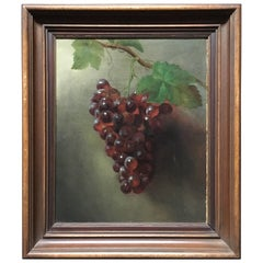 "American Oil on Canvas Painting, ""Grapes"""