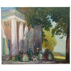 American Oil on Canvas, Signed, of an Anti-Bellum Mansion with Figures