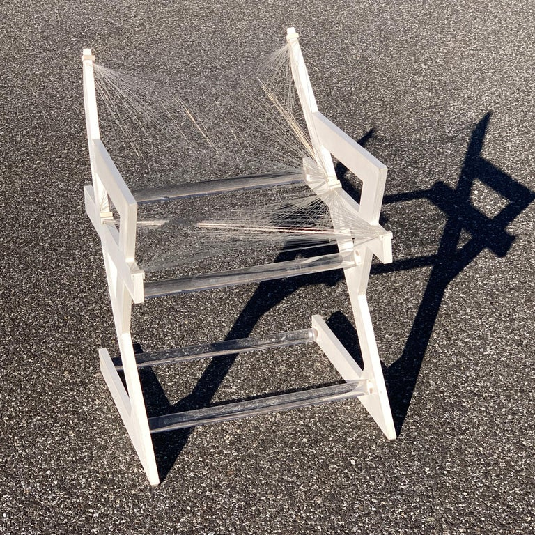 American One of a Kind Mid-Century Modern Fish-String White Painted Desk Chair For Sale 5
