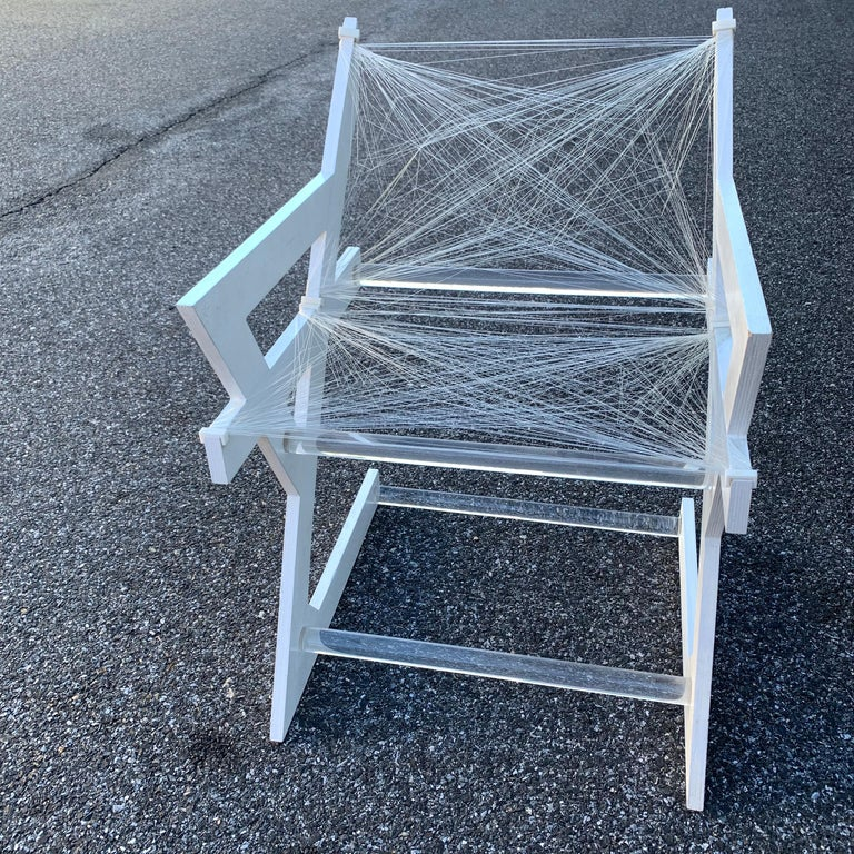 American One of a Kind Mid-Century Modern Fish-String White Painted Desk Chair For Sale 6