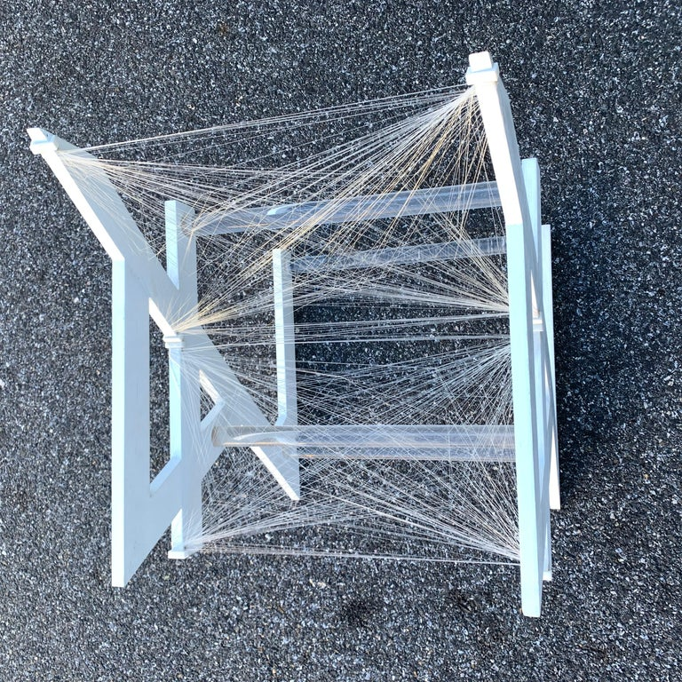 American One of a Kind Mid-Century Modern Fish-String White Painted Desk Chair For Sale 7
