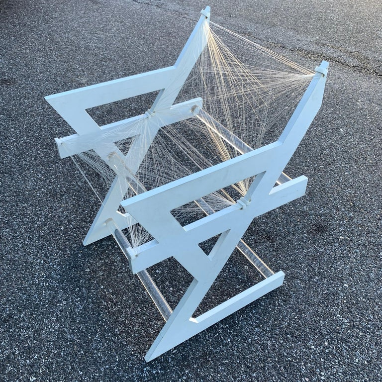 American one of a kind Mid-Century Modern fish-string white painted desk chair.