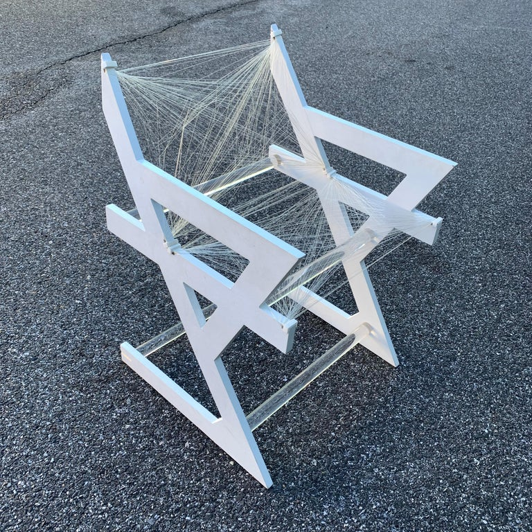 American One of a Kind Mid-Century Modern Fish-String White Painted Desk Chair In Good Condition For Sale In Haddonfield, NJ