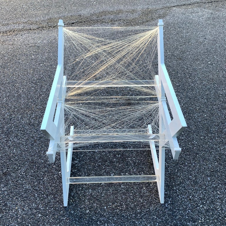 20th Century American One of a Kind Mid-Century Modern Fish-String White Painted Desk Chair For Sale