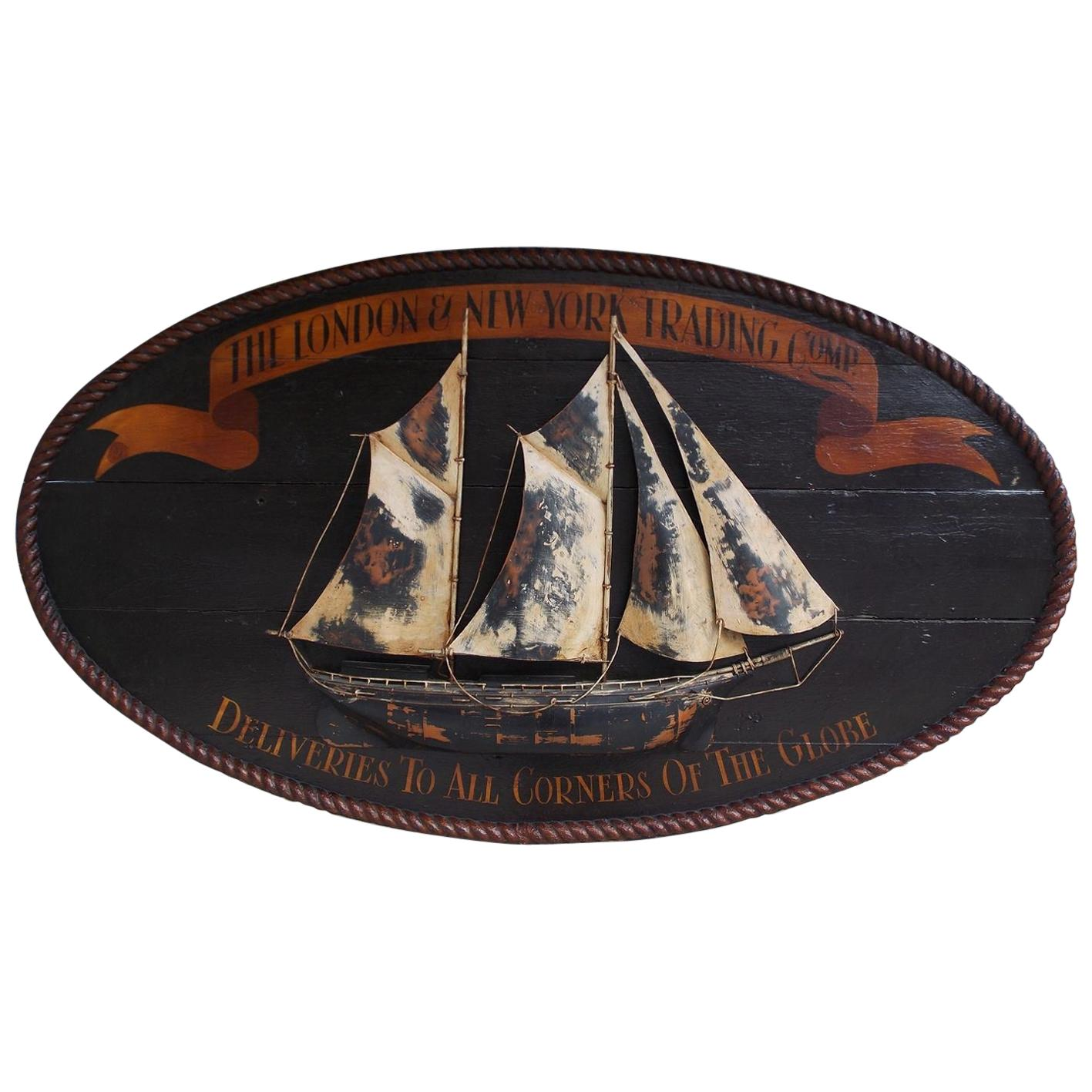 American Oval Timber Trade Sign with Two Masted Ship and Rope Boarder. C. 1850