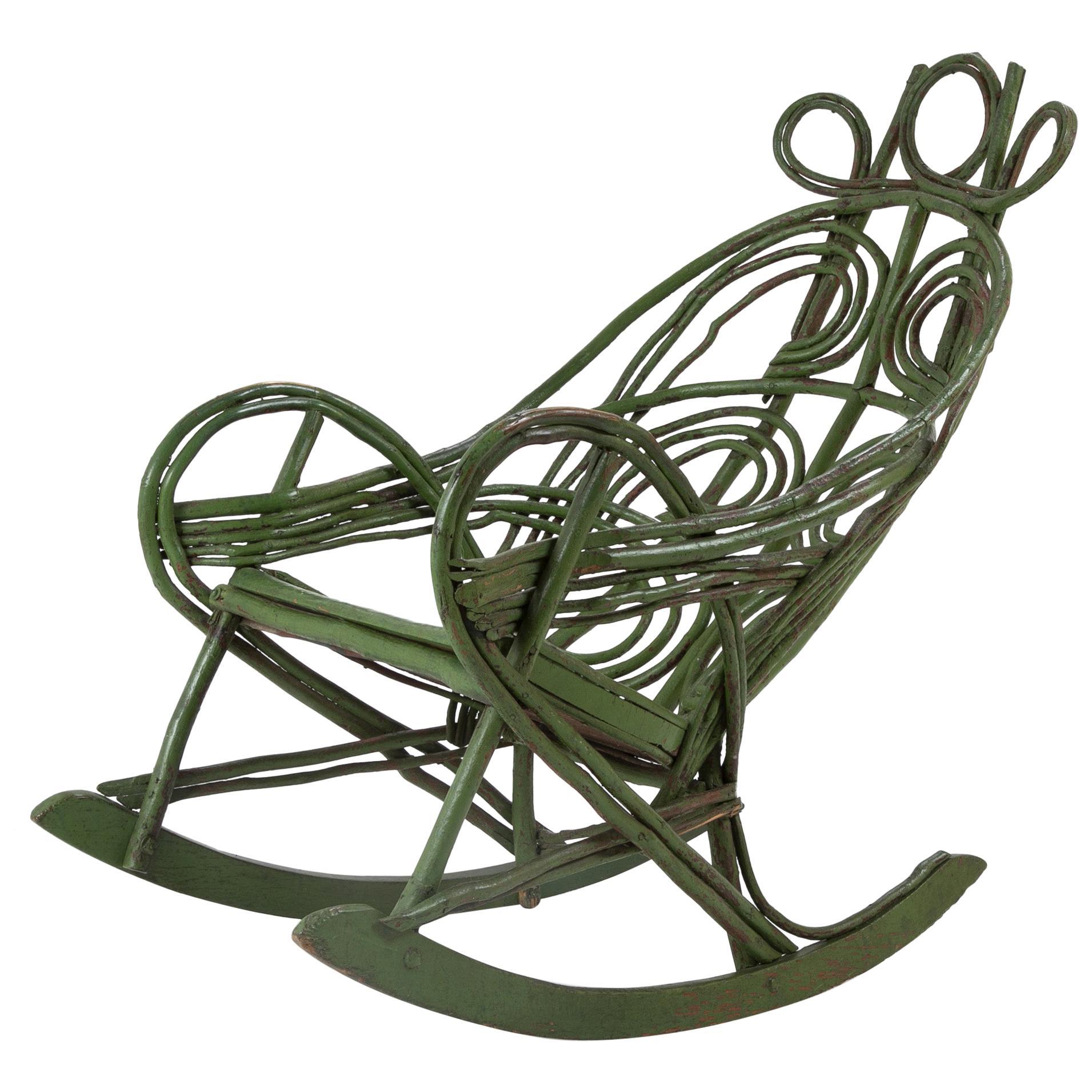 American Painted Adirondack Twig Rocking Chair