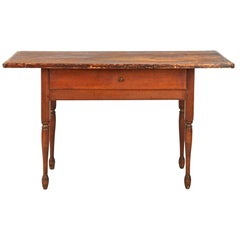American Painted Farm Scrubbed Antique Tavern Table, New Hampshire, circa 1830
