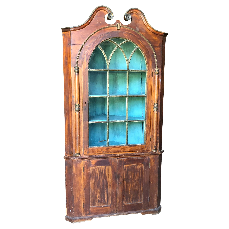 American Painted Pine Corner Cabinet, 18th C