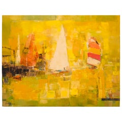 """American Painting, """"Sail Boats"""" Signed Jean Kalisch '1960-1970' Oil on Canvas"""