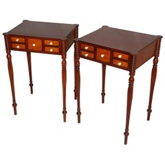 American Pair of Boston Sheraton Worktables in Mahogany and Bird's-Eye Maple