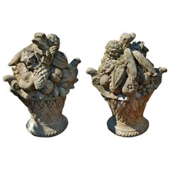 American Pair of Cast Crushed Stone Baskets of Fruit and Vegetables
