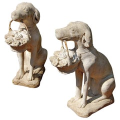 American Pair of Cast Crushed Stone Sitting Dogs with Baskets
