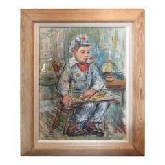 American Pastel of Boy by Elizabeth Langsdorf Miller, Signed, circa 1955