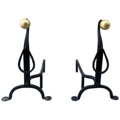 American Penny Foot Iron and Brass Andirons