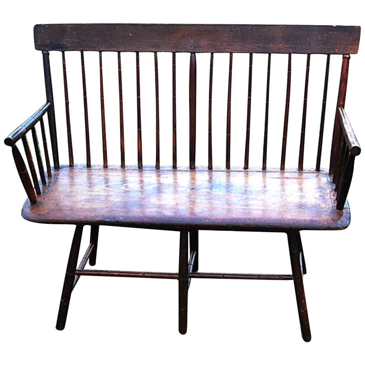 American Period Windsor Settee, Bamboo Turned Spindles, Early 19th Century