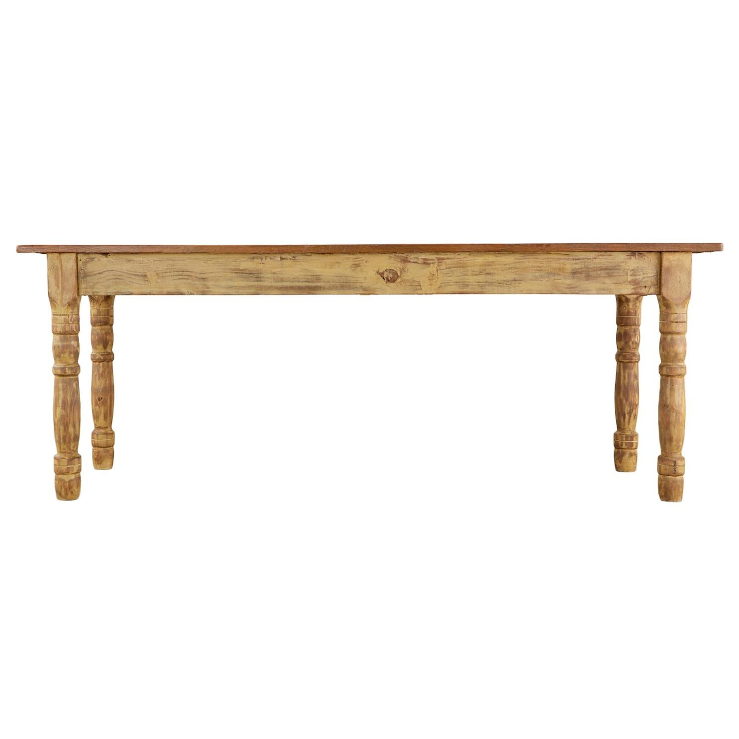 American Pine Barnwood Painted Farmhouse Dining Table