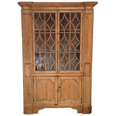 American Pine Corner Cupboard or Cabinet with Glass Doors, 19th Century
