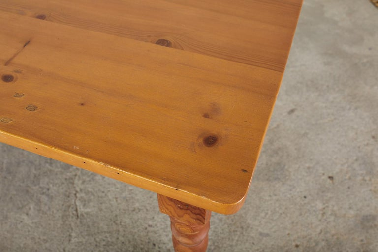 American Pine Country Farmhouse Style Dining Table For Sale 5