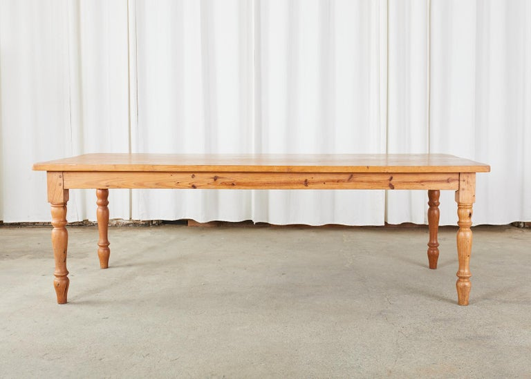 American Pine Country Farmhouse Style Dining Table For Sale 12