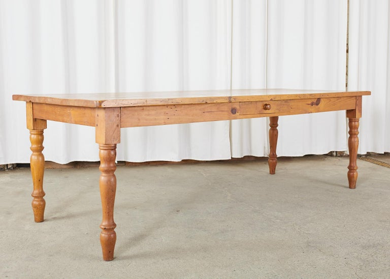 American Pine Country Farmhouse Style Dining Table For Sale 1