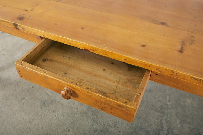 American Pine Country Farmhouse Style Dining Table For Sale 2