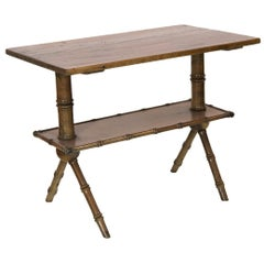 American Pine Faux Bamboo Side Table