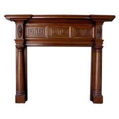 American Poplar Greek Key & Sunburst Fire Place Mantel . Circa 1820