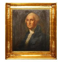 American Portrait of George Washington Oil on Canvas in Gilt Frame, Circa 1820
