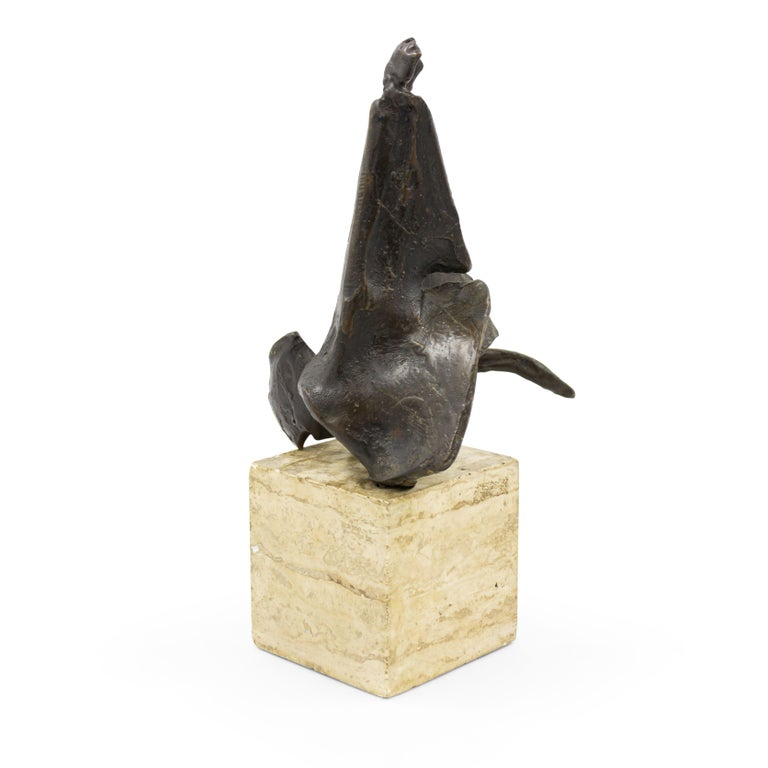 Post-Modern American Post-War Abstract Bronze Sculpture Mounted on a Marble Block For Sale