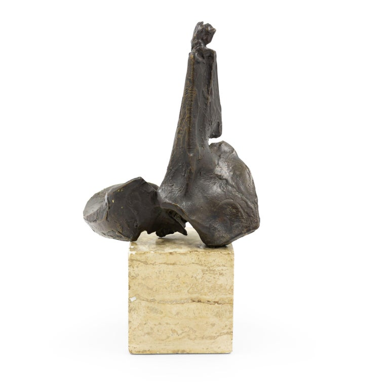 American Post-War Abstract Bronze Sculpture Mounted on a Marble Block In Good Condition For Sale In New York, NY