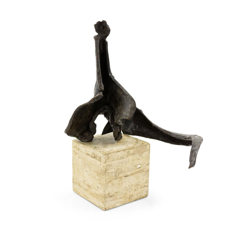 American Post-War Abstract Bronze Sculpture Mounted on a Marble Block For Sale 2