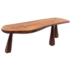 American Post-War Design Freeform Teak Top Bench