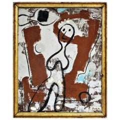 American Primitive Abstract Oil Painting on Board, Archaic Female, 1946
