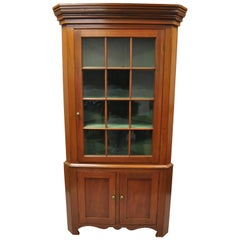 American Primitive Colonial Cherrywood Wavy Glass Corner Cupboard China Cabinet