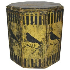 American Primitive Hand Painted Bird Grain Bin