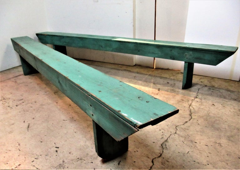 American Primitive Old Painted Long Benches For Sale At 1stdibs