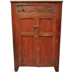 American Primitive Red Distress Painted Cupboard Hutch Pie Safe Cabinet