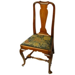 American Queen Anne Period Walnut Sidechair Boston Origin Cabriole Legs Pad Feet